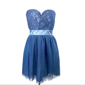 NWOT Delia's Blue Sweetheart Lace Strapless Dress